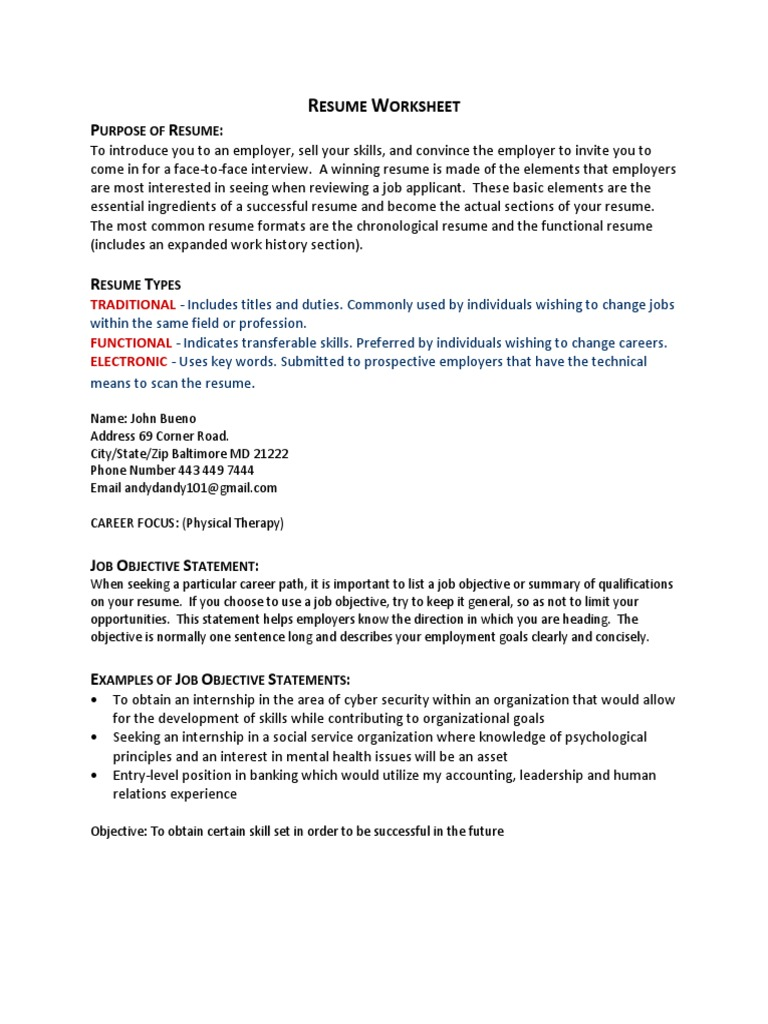worksheet Career Path Worksheet hip csit 101 resume assignment student worksheet 1 public health