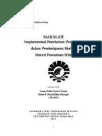 Makalah Implementasi Pemberian Penguatan  dalam Pembelajaran Biologi  Materi Pewarisan Sifat