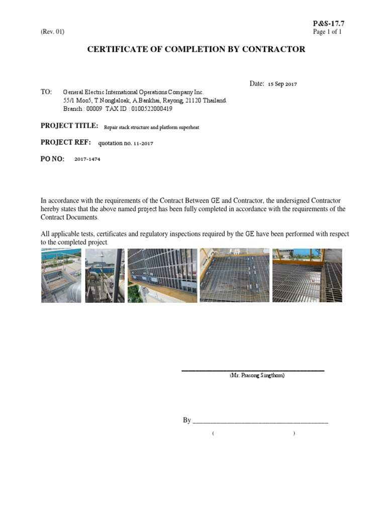 Certificate Completion for Repair Stack Structure and Platform