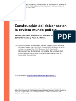 Samanta Bonelli, Anahi Bukart, Marian (..) (2009). Construccion Del Deber Ser en La Revista Mundo Policial