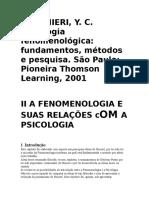 Texto a Fenomenologia e Suas Relações Com a Psicologia