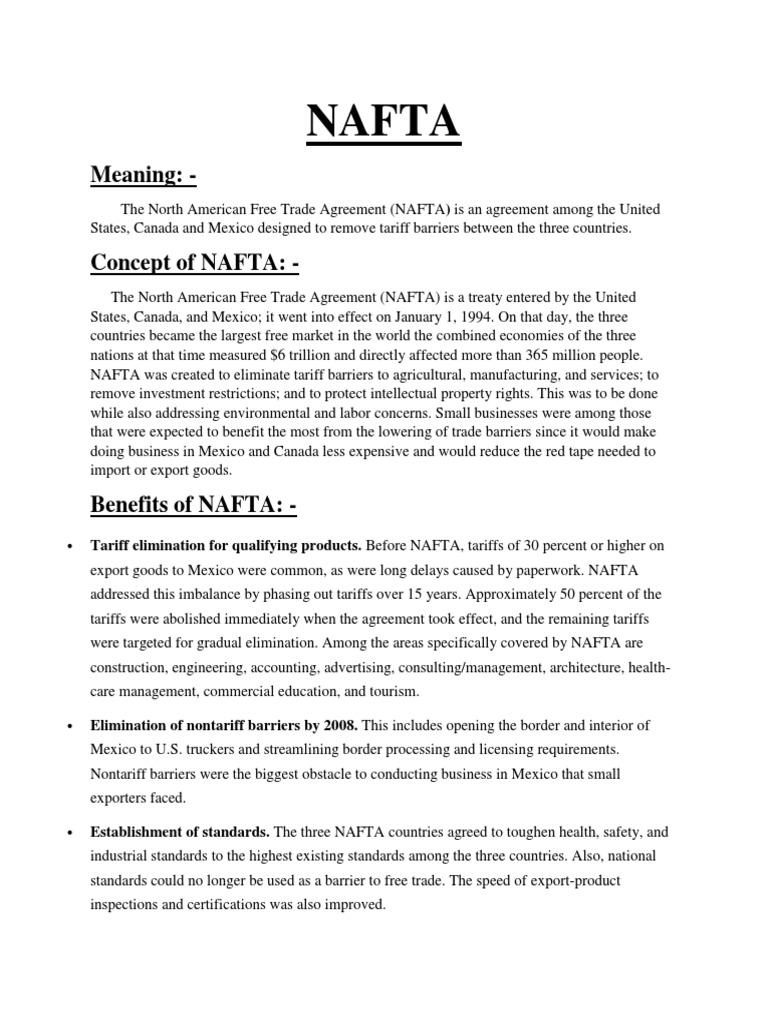 Nafta North America Free Trade Agreement North American Free