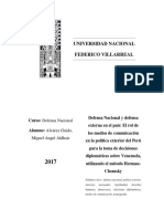 Defensa Nacional y defensa externa en el país