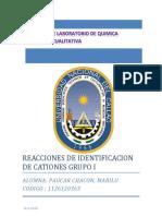 Reacciones de Identificacion de Cationes Grupo i