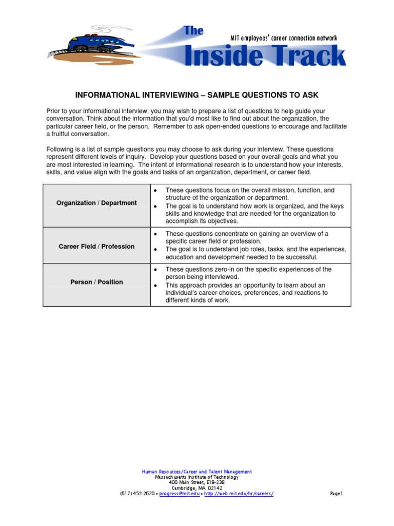 sampleinformationalinterviewquestionspdf goal profession