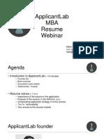 e-GMAT+ Applicant Lab - RESUME WRITING webinar