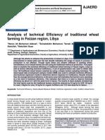 Analysis of technical Efficiency of traditional wheat farming in Fezzan region, Libya