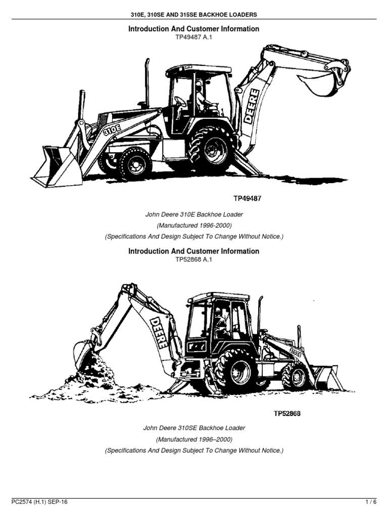 310e 310se and 315se backhoe loaders introduction loader rh scribd com John Deere 310E 310Se John Deere Electrical Diagram