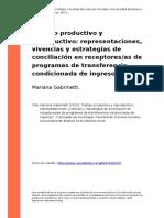 Mariana Gabrinetti (2013). Trabajo Productivo y Reproductivo Representaciones, Vivencias y Estrategias de Conciliacion en Receptor