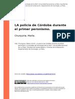 Churquina, Marta (2010). LA Policia de Cordoba Durante El Primer Peronismo