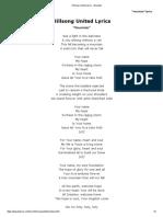 Hillsong United Lyrics - Mountain