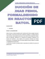 Produccion de Resinas Fenol Formaldehido en Reactor Batch