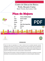 Plan de Mejora Del Desempeño Académico a Nivel de Centro Educativo