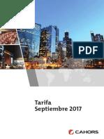 201709 Cahors Tarifa Septiembre 2017