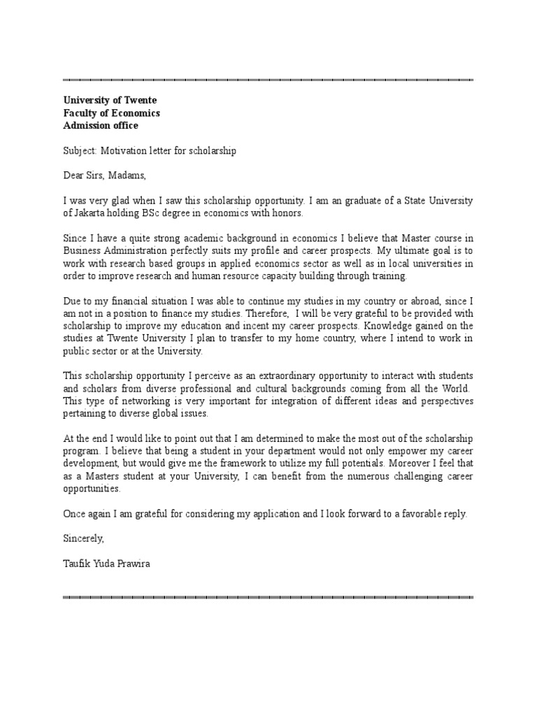 Motivation letter peserta tourism university spiritdancerdesigns Images