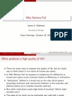 """Presentación de la Conferencia Magistral """"Por qué fracasan los países"""""""