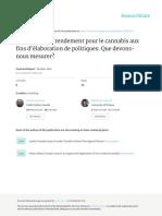 Paramètres de Rendement Pour Le Cannabis Aux Fins d'Élaboration de Politiques