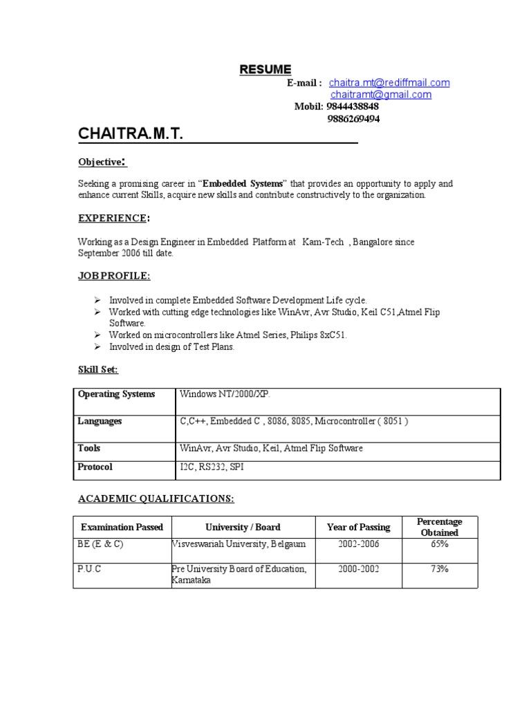 Resume Chaitra | Electronics | Electrical Engineering
