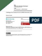Catalogue Des Manuscrits de La Bible Historiale-1