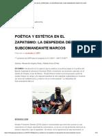 Poética y Estética en El Zapatismo. La Despedida Del Subcomandante Marcos - GIAP