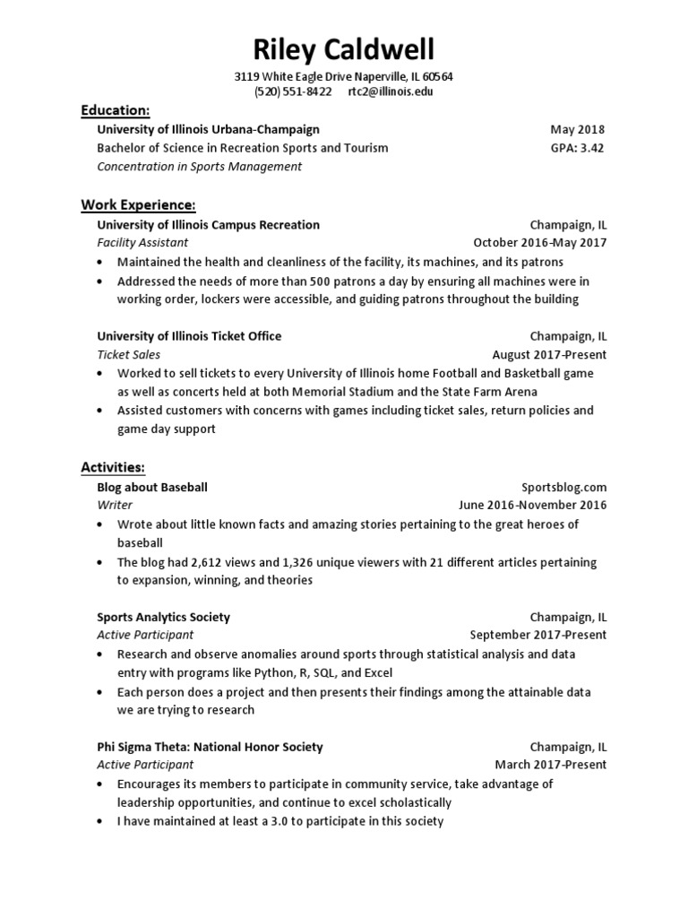 caldwell-rileyresume | University Of Illinois At Urbana