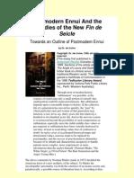 Towards an Outline of Postmodern Ennui - by Ian Irvine (Hobson)