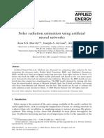 Dorvlo Et Al (2002) - Solar Radiation Estimation Using Artificial Neural Networks