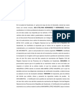 ACTA DE REQUERIMIENTO RECTIFICACIÓN DE PARTIDA