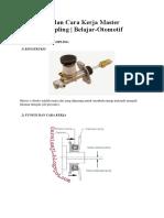 Konstruksi Dan Cara Kerja Master Cylinder Kopling