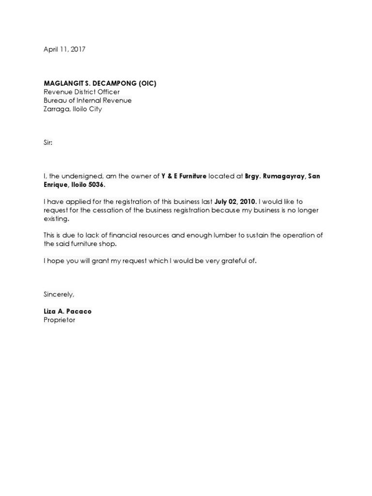 bir closure letter