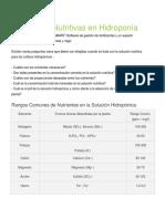Soluciones Nutritivas en Hidroponía