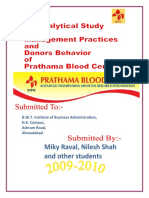 Prathama Blood Bank, management Practice and Donors Behavior.