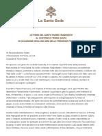 Papa Francesco 20171017 Lettera 800anni Custodiafrancescana Terrasanta