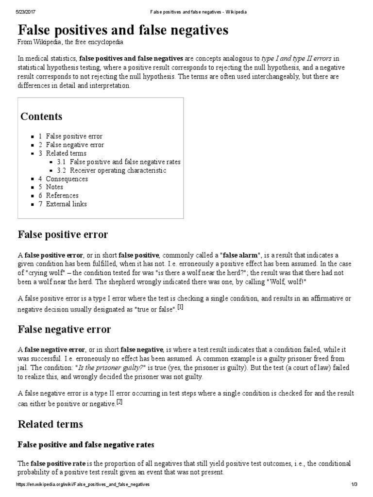 False Positives And Negatives