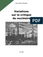 Variations Sur La Critique Du Nucléaire - Jean-Pierre Baudet (1988)