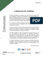 El comunicat de la Moncloa en resposta a Puigdemont