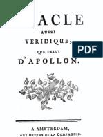 Oracle Aussi Veridiques que celui d'Apollon (1759) - Anonyme
