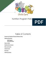 Foodservice Nutrition Wellness Program Policy