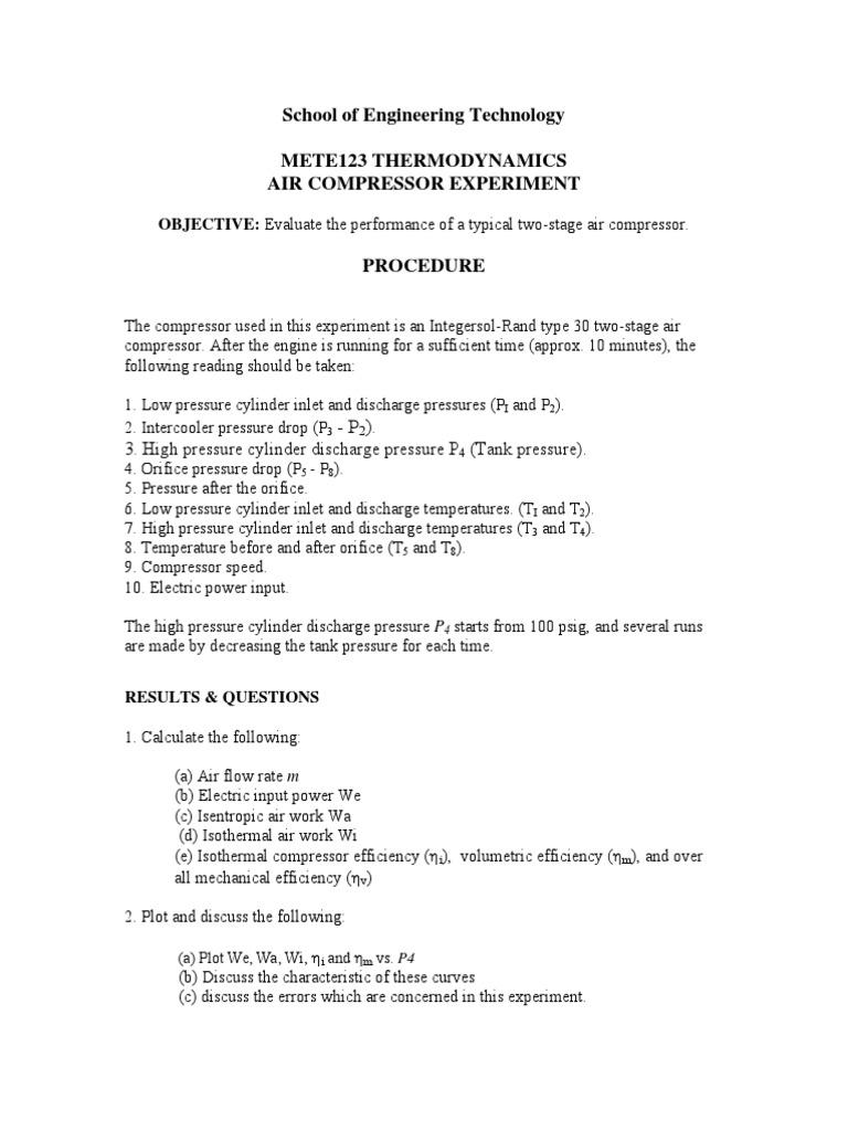 air compressor lab pdf | Gas Compressor | Pressure