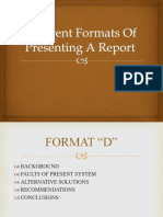 Different Formats of Presenting a Report