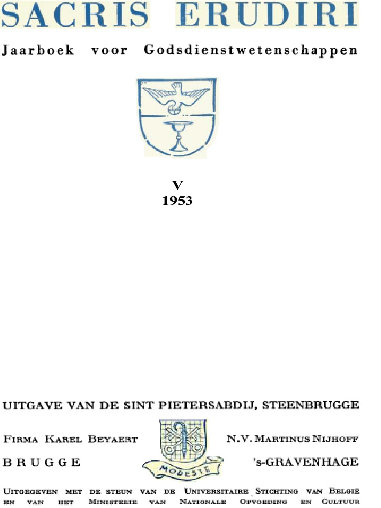 Sacris Erudiri Volume 05 1953pdf