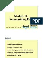 Module 10 Summarizing Data