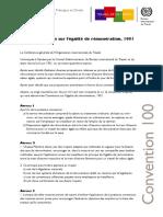 Convention No_ 100 -OIT- Sur l'Égalité de Rémunération 1951