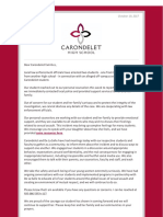 Carondelet High School letter to parents