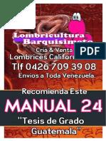 LOMBRICULTURA VENEZUELA, Manual 24 Tesis de Grado Guatemala LOMBRICES CALIFORNIANAS