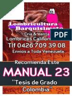 LOMBRICULTURA VENEZUELA, Manual 23 Tesis de Grado Colombia, LOMBRICES CALIFORNIANAS