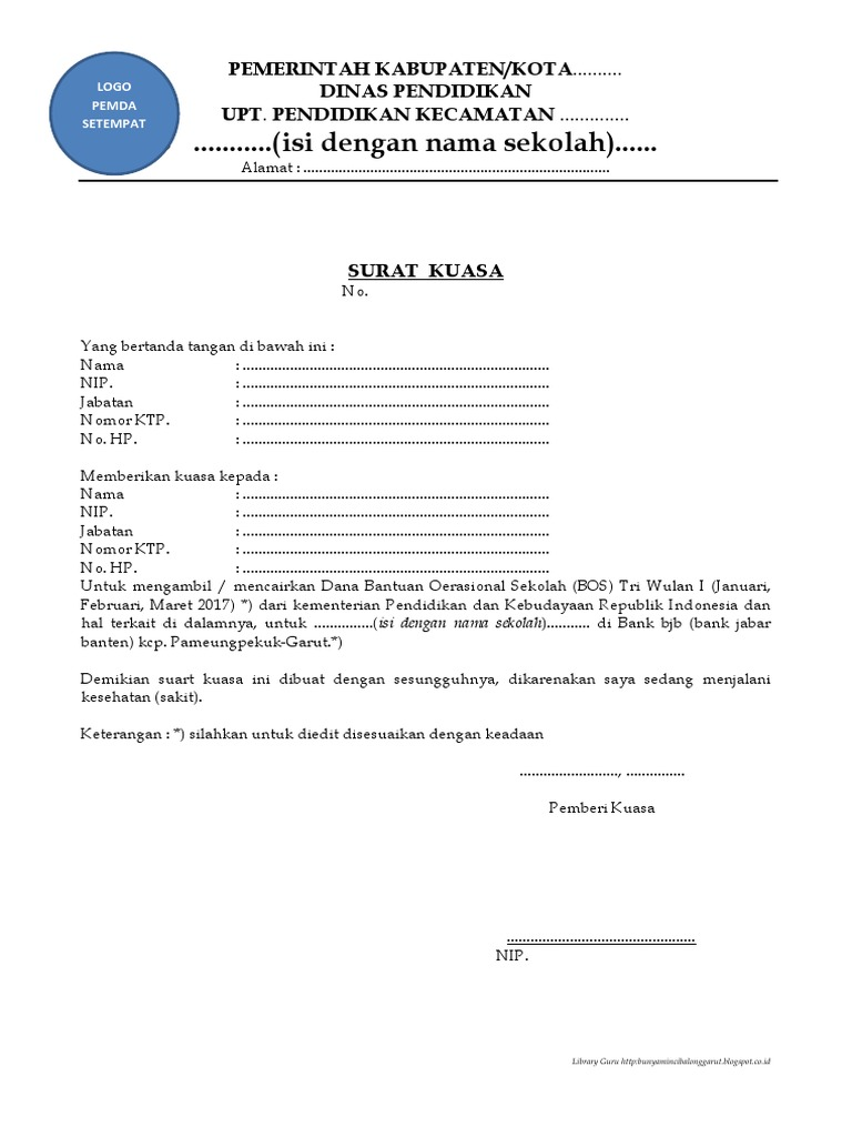 Bank Bri Contoh Surat Kuasa Pengambilan Uang - Berbagi ...