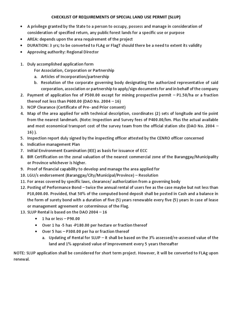 Checklist of Requirements of Special Land Use Permit
