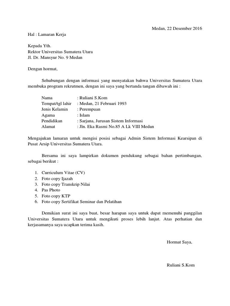 Contoh Surat Lamaran Kerja Staff Administrasi Di Universitas Berbagi Contoh Surat