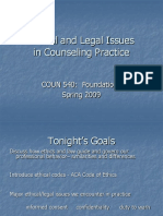 Ethical and Legal Issues COUN 540